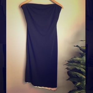 Express : strapless black dress with white under